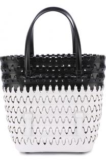Кожаная сумка с контрастной отделкой Alaia