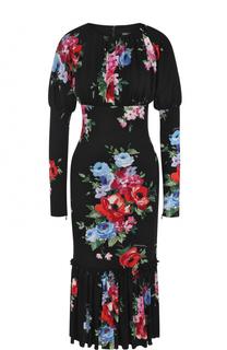 Шелковое платье-миди с цветочным принтом Dolce & Gabbana