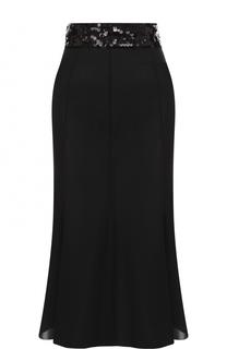 Однотонная юбка-миди с пайетками Dolce & Gabbana