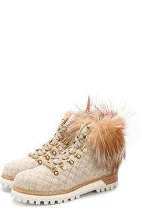 Текстильные стеганые ботинки с меховой отделкой Le Silla