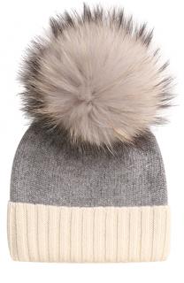 Кашемировая шапка с меховым помпоном TSUM Collection