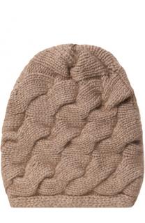 Кашемировая шапка фактурной вязки с помпоном из меха песца TSUM Collection
