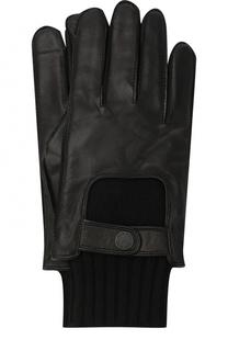 Кожаные перчатки с манжетами и шерстяной подкладкой BOSS