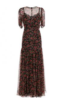 Шелковое платье-макси с принтом Dolce & Gabbana