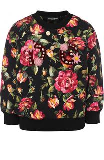 Хлопковый свитшот с укороченным рукавом и принтом Dolce & Gabbana