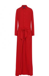 Однотонное шелковое платье-рубашка Ralph Lauren