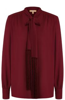 Шелковая блуза с воротником аскот и бахромой Michael Kors