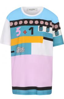 Хлопковая футболка прямого кроя с принтом Valentino