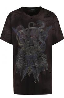 Удлиненная хлопковая футболка свободного кроя Balmain