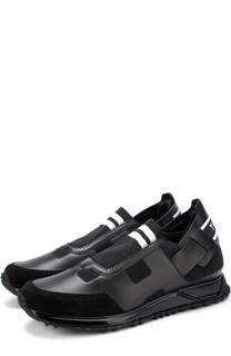 Комбинированные кроссовки без шнуровки Fendi