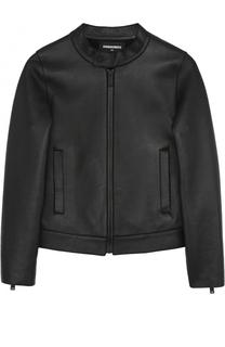 Кожаная куртка с воротником-стойкой Dsquared2