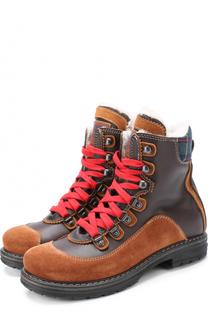 Кожаные ботинки с текстильной отделкой Dsquared2