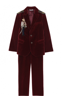 Бархатный костюм с вышивкой и эполетами Dolce & Gabbana