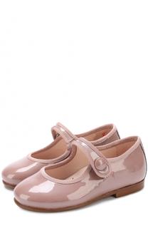 Лаковые туфли с текстильной отделкой и глиттером на ремешке Beberlis