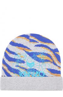 Шапка из хлопка и шерсти с принтом Kenzo