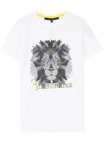 Хлопковая футболка с принтом Billionaire