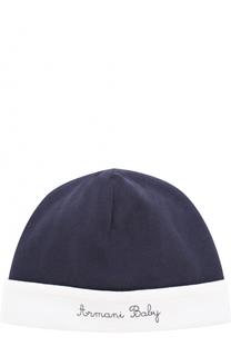 Хлопковая шапка с вышивкой Armani Junior