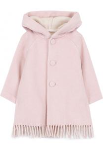 Пальто с капюшоном и бахромой Il Gufo