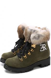 Замшевые ботинки с внутренней отделкой из овчины Ermanno Scervino