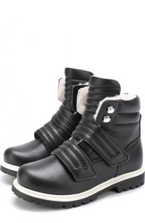 Кожаные ботинки с внутренней отделкой из овчины и застежками велькро Dsquared2