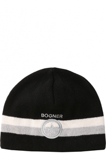 Вязаная шапка с контрастной отделкой Bogner