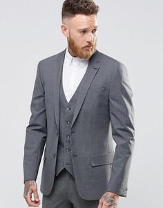 Серый шерстяной пиджак слим в клеточку River Island - Серый