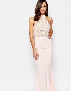 Платье макси с лифом халтер и кружевной отделкой Jarlo Petite Caden - Розовый