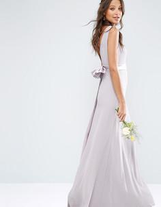 Атласное платье макси с бантом на спине TFNC Tall WEDDING - Фиолетовый