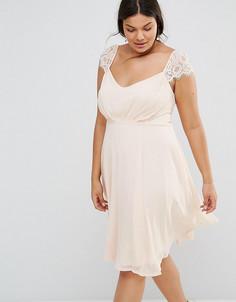 Приталенное платье миди из шифона с кружевными рукавами Boohoo Plus - Розовый