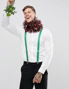 Зеленые подтяжки в рождественском стиле с принтом ASOS - Зеленый