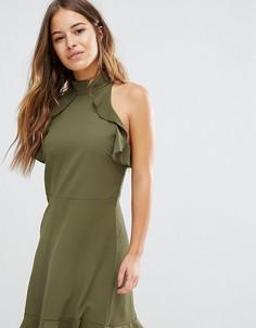 Платье мини с высоким воротом John Zack Petite - Зеленый