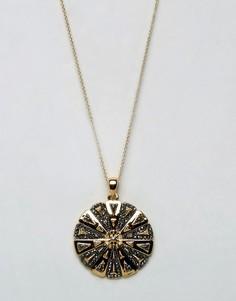 Ожерелье с гравированным цветком House of Harlow - Золотой