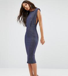 Облегающее платье миди с блестками и углубленной проймой ASOS TALL - Темно-синий