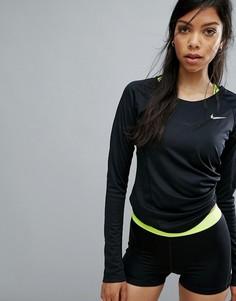 Лонгслив Nike Running Miler из быстросохнущей ткани - Черный
