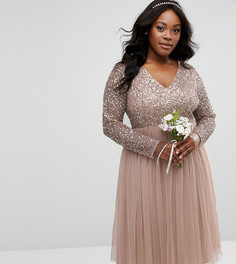 Платье миди с длинными рукавами и V-образным вырезом Lovedrobe Luxe - Серый