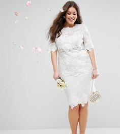 Кружевное цельнокройное платье миди с вышивкой ASOS CURVE BRIDAL - Белый