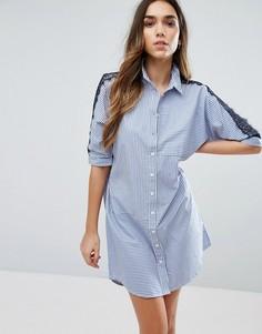 Платье-рубашка с кружевной вставкой River Island - Мульти
