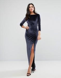 Бархатное платье макси с длинными рукавами Y.A.S - Черный