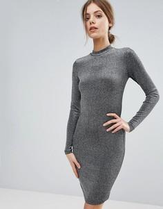 Облегающее платье с длинными рукавами Y.A.S - Серебряный