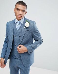 Зауженный фактурный пиджак голубого цвета из 100% шелка ASOS Wedding - Синий