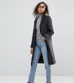 Приталенное пальто с добавлением шерсти ASOS PETITE - Серый