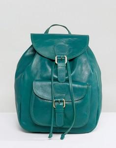 Кожаный рюкзак с карманом спереди ASOS - Зеленый