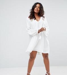 Свободное платье с вышивкой Missguided Plus - Белый