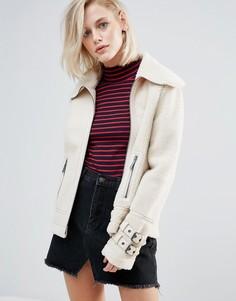 Байкерская куртка с отделкой из искусственной овчины Pepe Jeans - Кремовый
