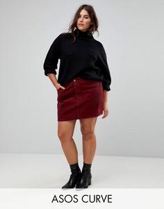 Вельветовая мини-юбка ASOS CURVE - Красный
