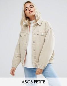 Светло-серая утепленная джинсовая куртка ASOS PETITE - Светло-бежевый