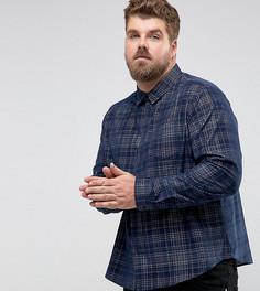Вельветовая рубашка в клетку Another Influence PLUS - Темно-синий