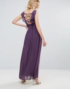 Платье макси с декоративной отделкой и поясом Little Mistress - Фиолетовый