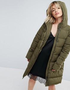 Стеганное пальто из искусственного меха с капюшоном Parka London Thelma - Зеленый