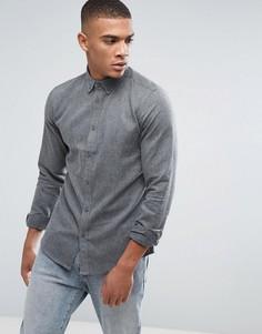 Рубашка классического кроя из шамбре с воротником на пуговицах Solid - Серый